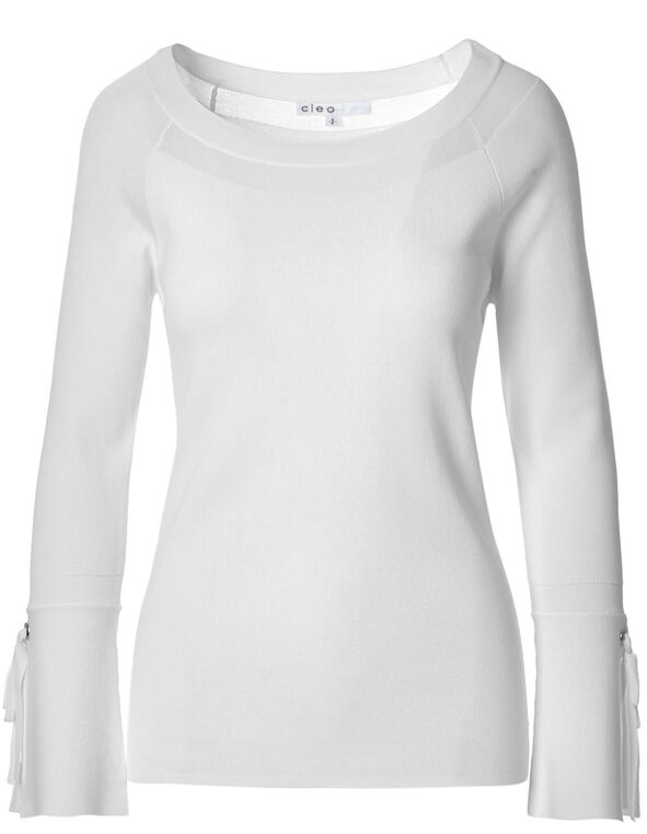 White Bell Sleeve Sweater, White, hi-res