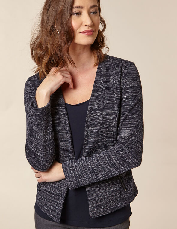 Navy Stripe Zip Pocket Blazer, Navy, hi-res