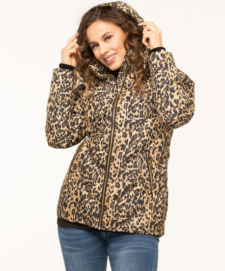 Printed Faux Down Puffer Jacket, Camel/Black, hi-res