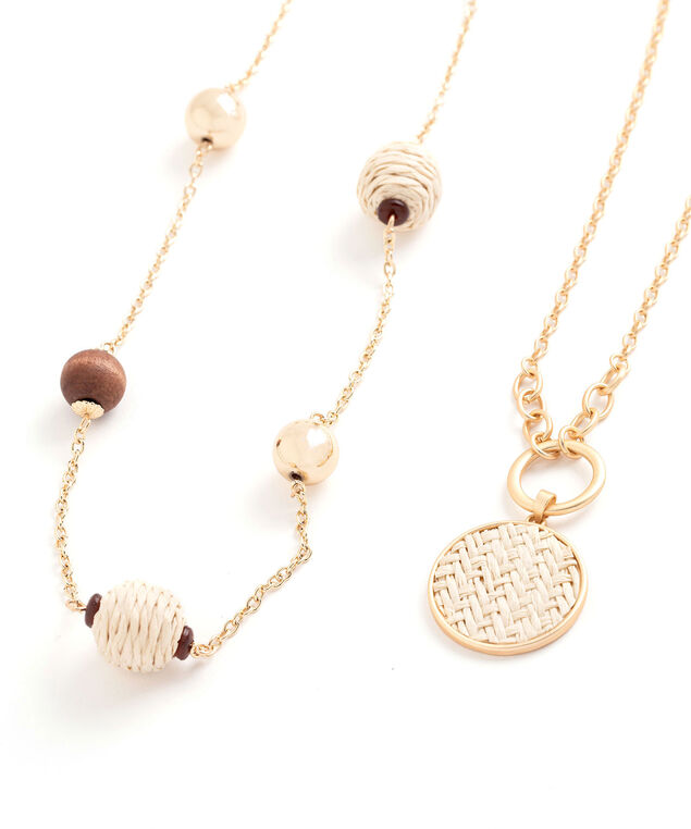 Convertible Straw Bead Layered Necklace, Gold