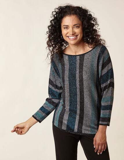 Teal Striped Lurex Sweater, Turquoise, hi-res