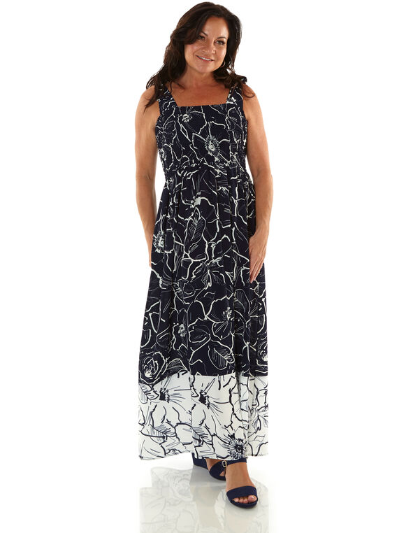 Navy and White Floral Maxi Dress, Navy, hi-res