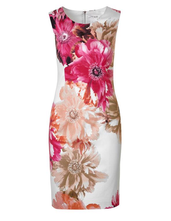 White Floral Sateen Dress, White, hi-res