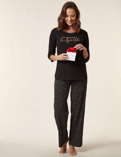 Black Star Print Cotton Pyjama Set, Black, hi-res