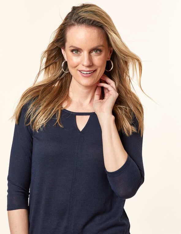 Navy Knit Keyhole Top, Navy, hi-res