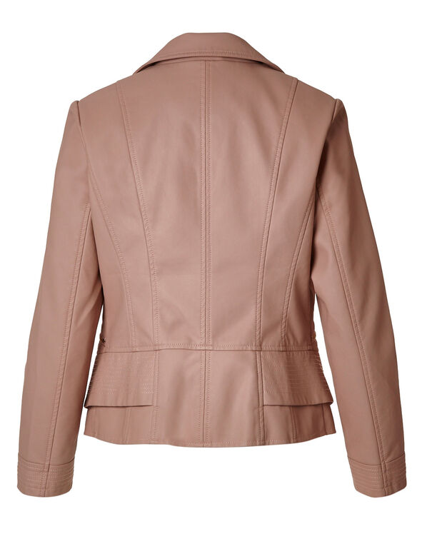 Light Pink Faux Leather Jacket, Light Pink, hi-res