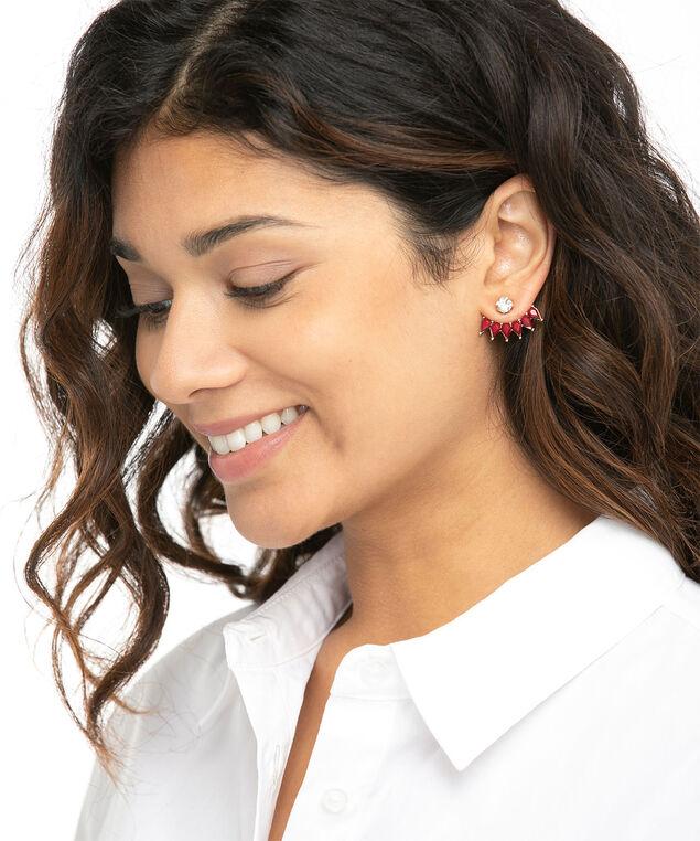 Oxblood Stud Earring, Gold/Oxblood