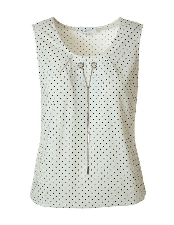 Polka Dot Bubble Hem Sleeveless Top, White, hi-res
