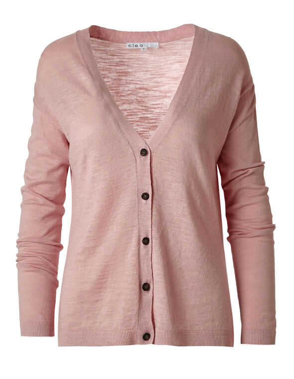 Pink Slub Button Front Cardigan, Cotton Candy, hi-res