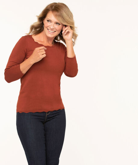 Scallop Edge Essential Sweater, Rust, hi-res