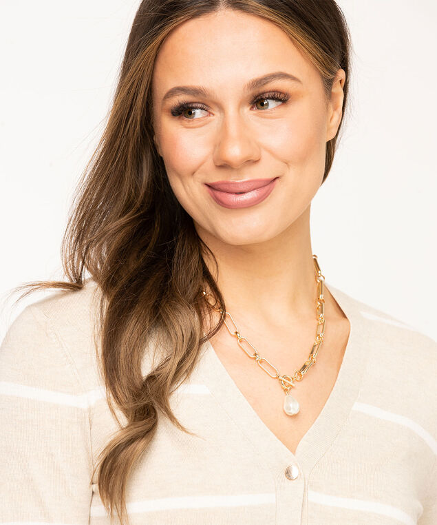 Pearl Chain Link Toggle Necklace, Gold/Pearl