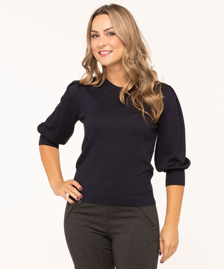 Puff Sleeve Banded Bottom Sweater, Navy, hi-res