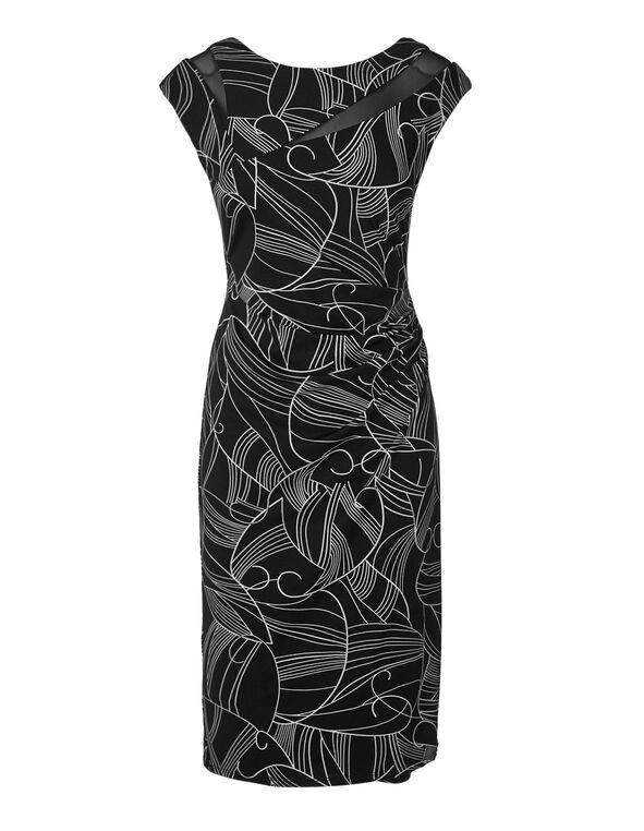 Black Scroll Mesh Insert Dress, Black/White, hi-res