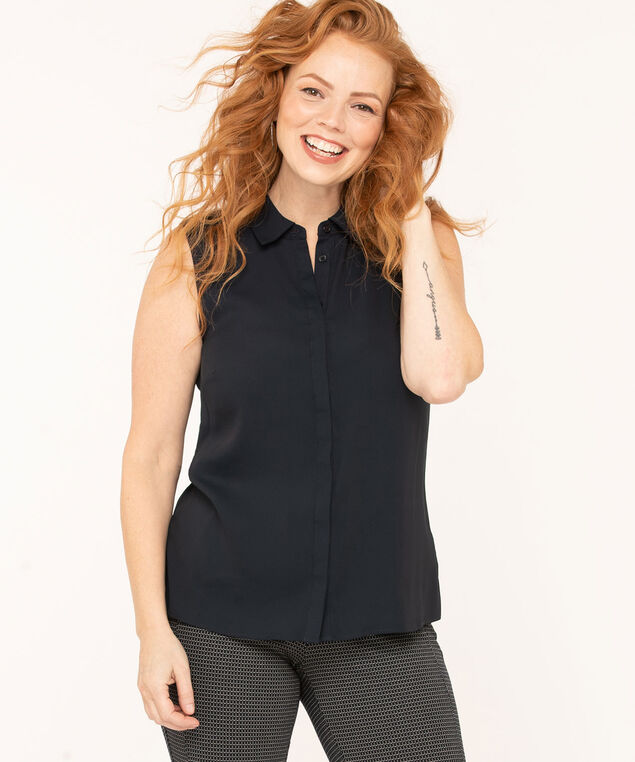 Collared Button Blouse, Navy