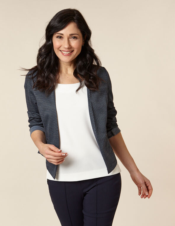 Navy Patterned Zip Pocket Blazer, Navy/Blue, hi-res