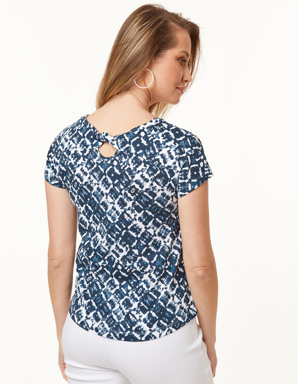 Knot Back Tee, Navy, hi-res