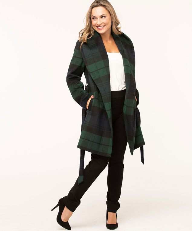 Blackwatch Plaid Wool Wrap Coat, Green/Navy/Black, hi-res