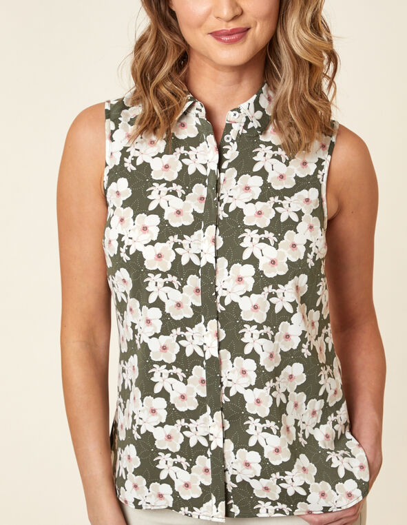 Olive Floral Collared Button Blouse, Green/Olive, hi-res
