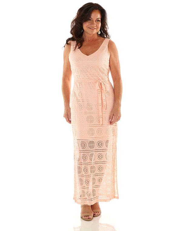 Peach Lace Maxi Dress, Peach, hi-res