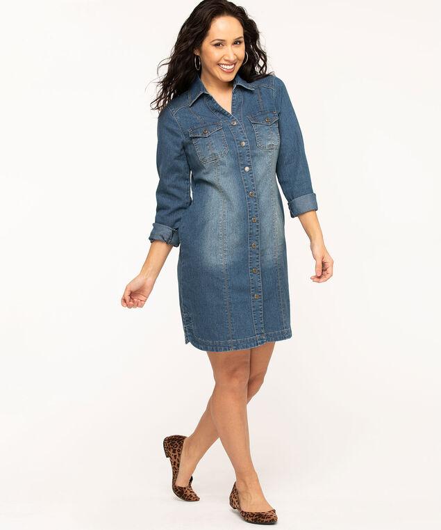 Mid Wash Denim Shirt Dress, Mid Wash Blue