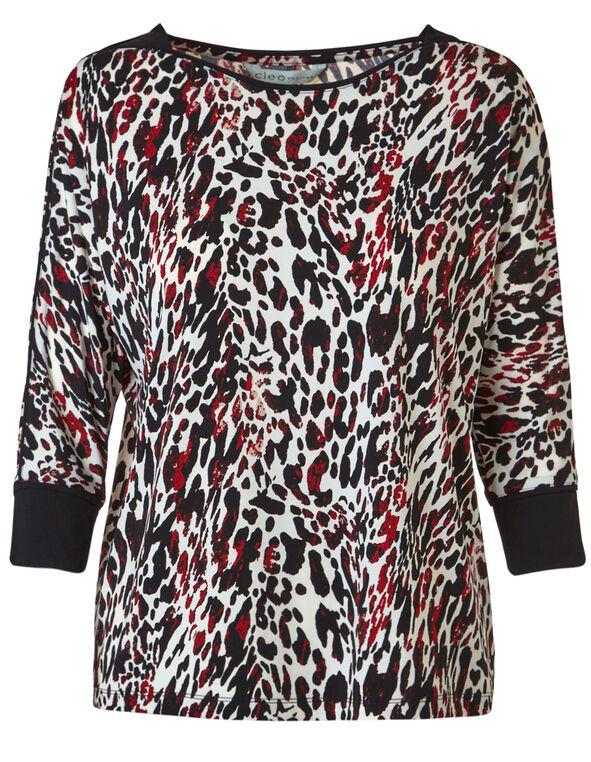 Animal Printed Dolman Sleeve Top, Black/Red, hi-res