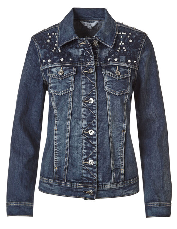 Dark Wash Pearl Denim Jacket, Dark Wash, hi-res