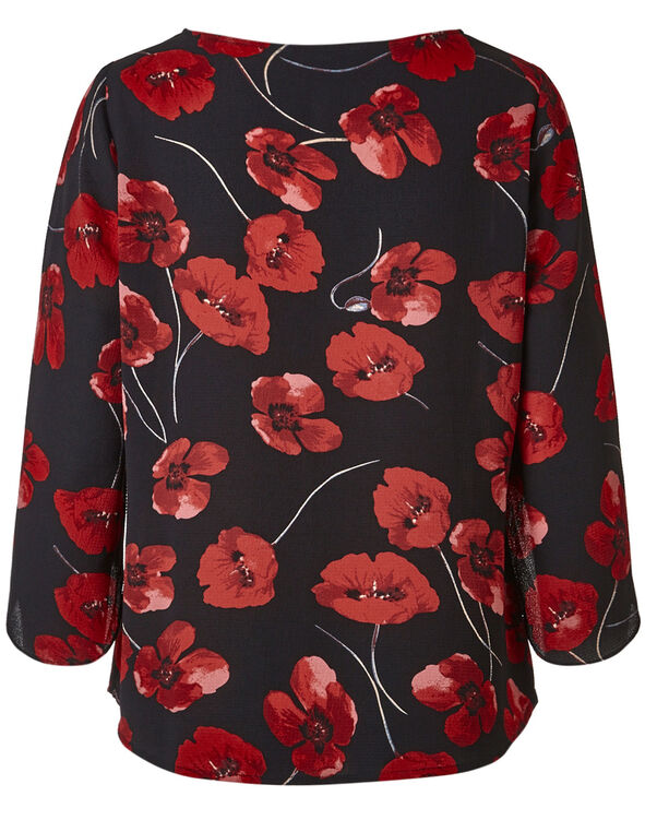 Red Floral Tulip Sleeve Blouse, Black/Red, hi-res