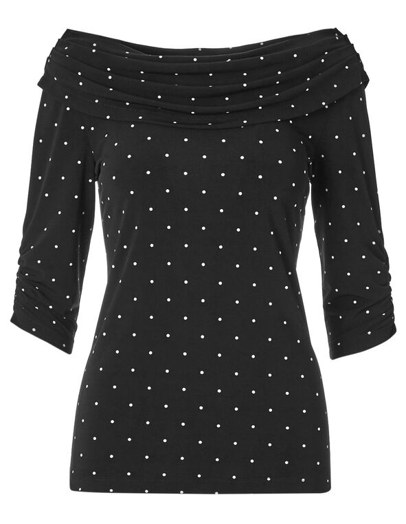 Dotted Marilyn Neck Tunic Top, Black, hi-res