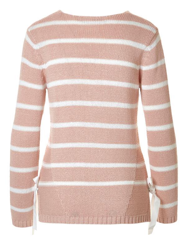 Seashell Pink Side Gommet Sweater, Seashell Pink, hi-res