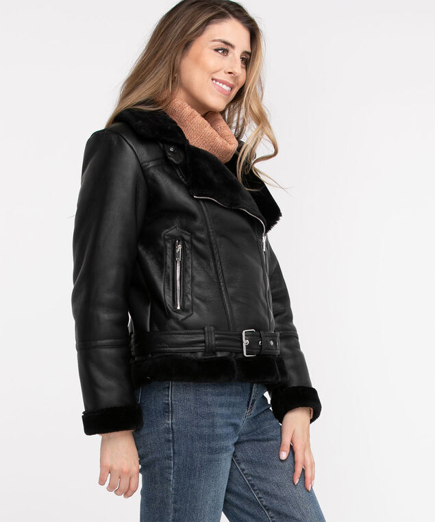 Faux Leather Shearling Jacket, Black