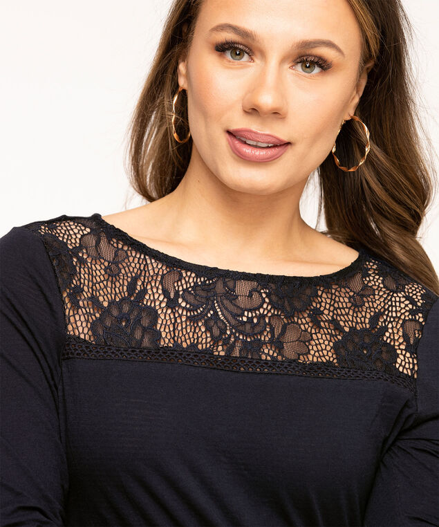 Crochet Trim Scoop Neck Top, Navy