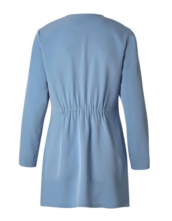 Dusty Blue Draped Blazer, Dusty Blue, hi-res
