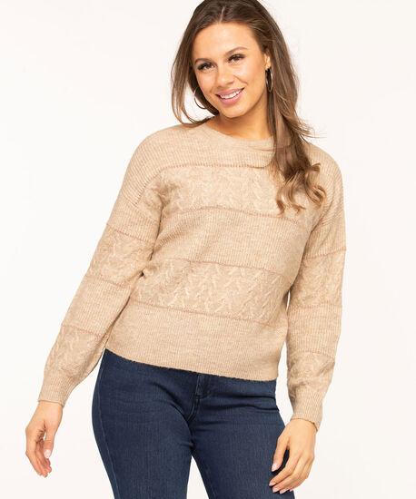 Beige Metallic Stripe Pullover Sweater, Beige/Rose Gold Metallic, hi-res
