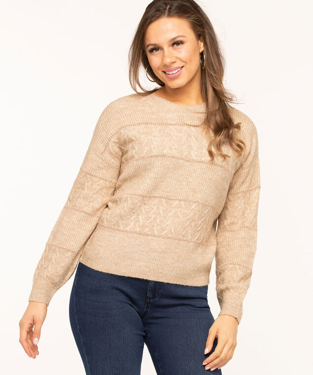 Beige Metallic Stripe Pullover Sweater, Beige/Rose Gold Metallic