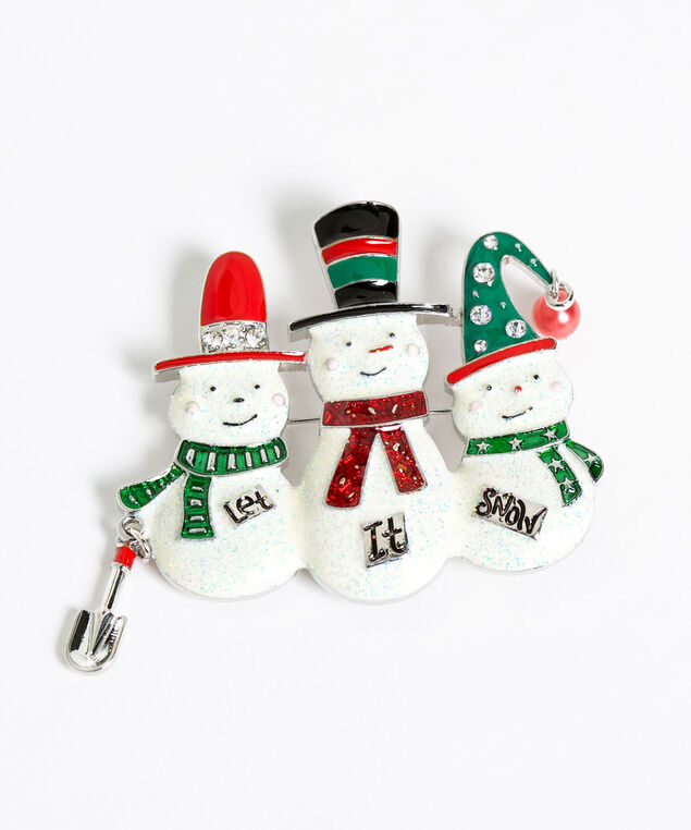 """Let It Snow"" Snowmen Pin, Silver/Ivory/Red/Green, hi-res"