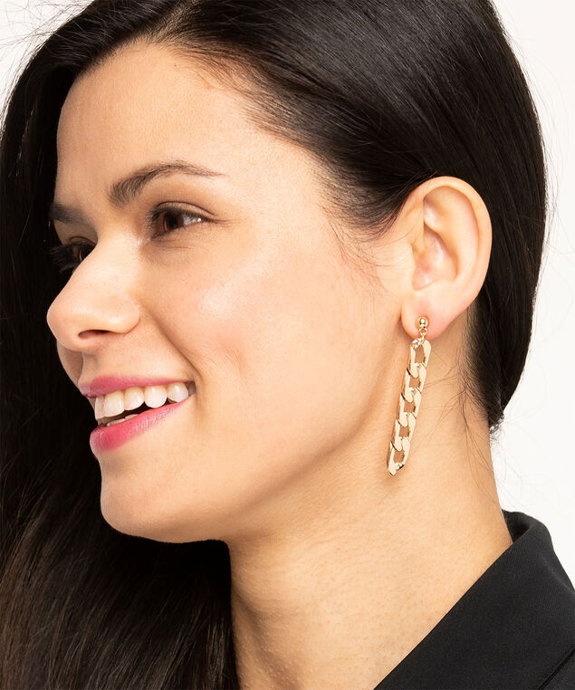 Gold Linear Chain Link Earring, Gold