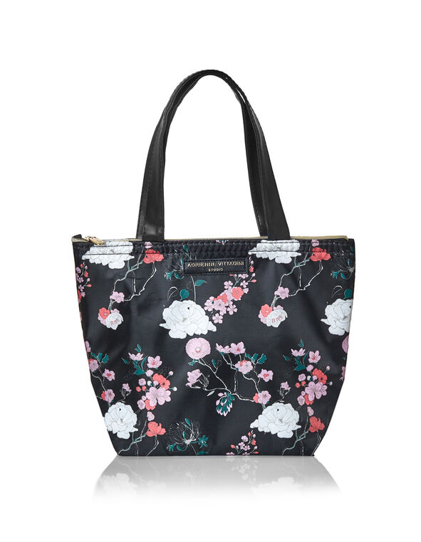 Dahlia Floral Lunch Tote, Black, hi-res