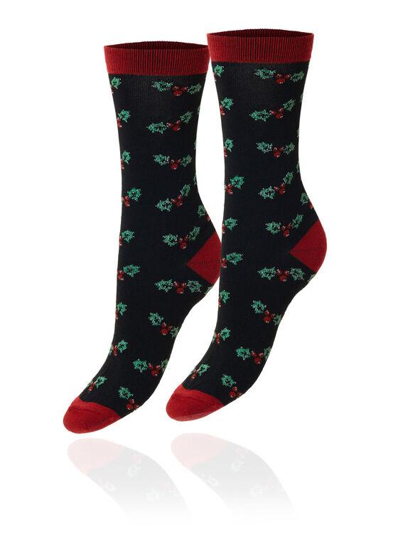 Mistletoe - Black Lurex Crew Sock, Black, hi-res