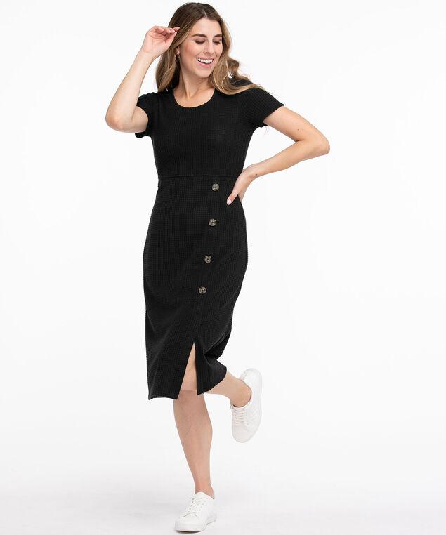 Waffle Knit Button Front Dress, Black