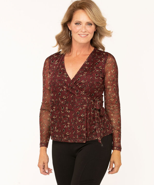 V-Neck Wrap Front Top, Wine/Camel, hi-res