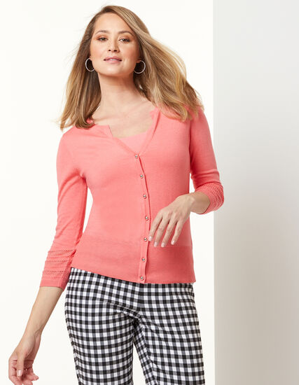 Pointelle Cardigan, Pink, hi-res