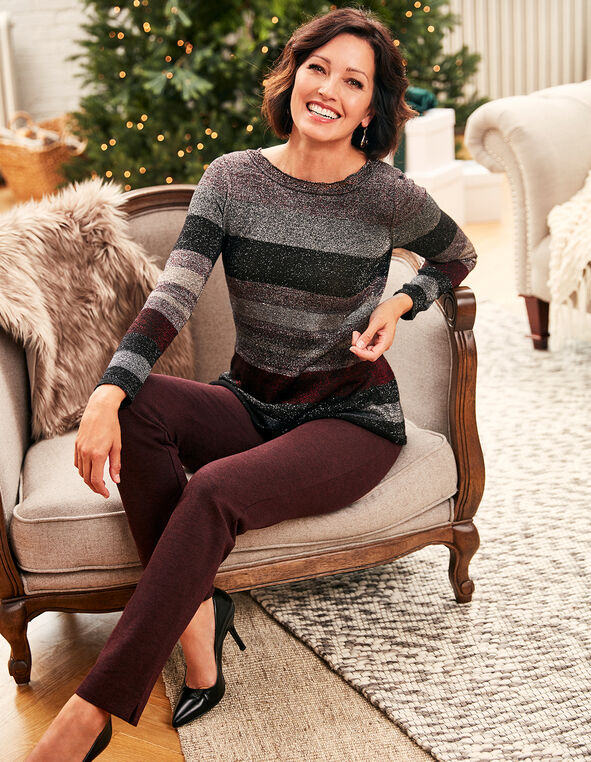 Burgundy Lurex Peplum Sweater, Burgundy/Grey, hi-res