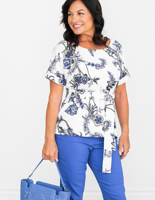 White Paisley Printed Top, White/Blue, hi-res