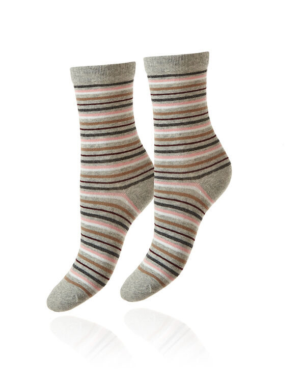 Grey Striped Crew Sock, Grey, hi-res