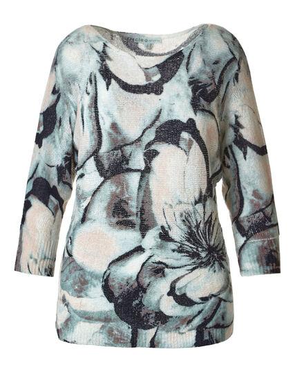 Teal Floral Printed Dolman Sweater, Teal/Pink, hi-res
