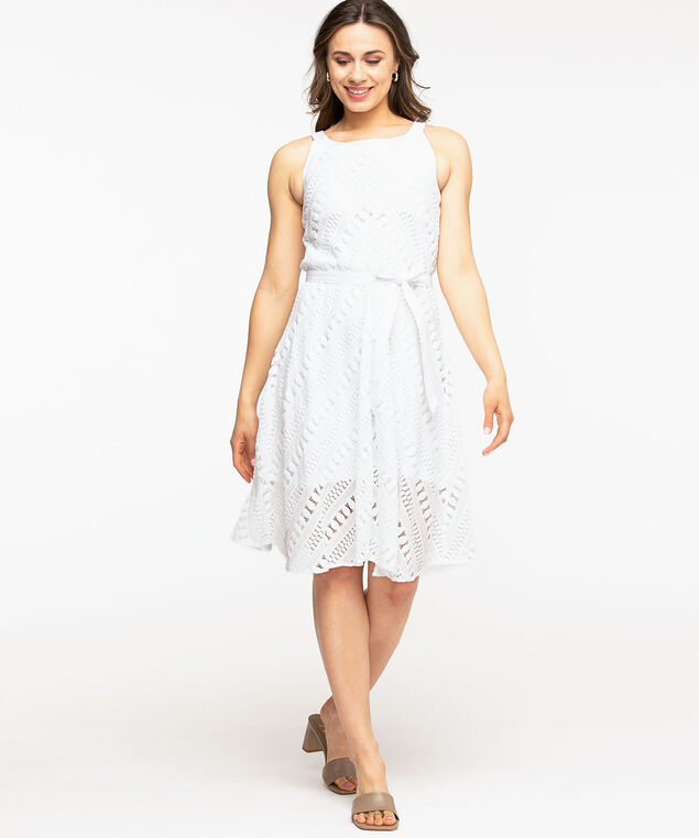 A-Line Lace Halter Dress, White