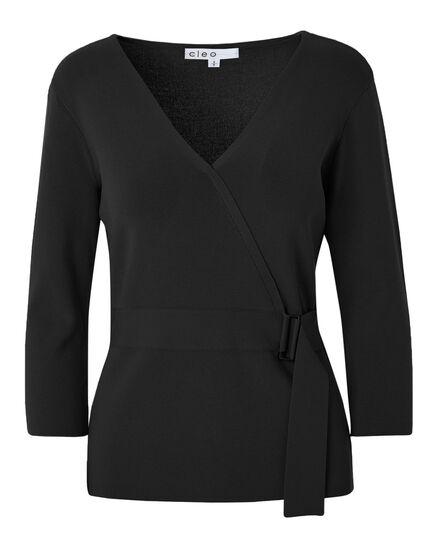 Black Faux Wrap Pullover Sweater, Black, hi-res
