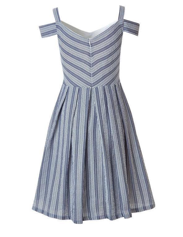 Seersucker Cold Shoulder Dress, Blue/White, hi-res