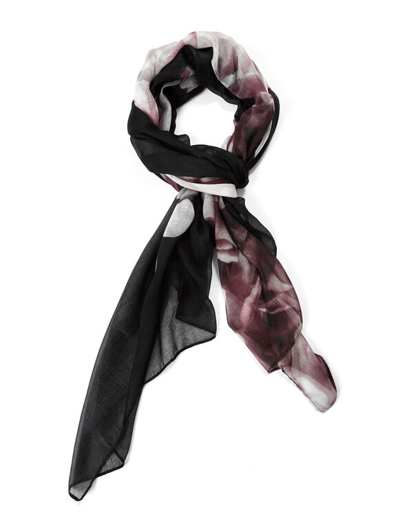 Black Floral Oblong Scarf, Black/Pink, hi-res