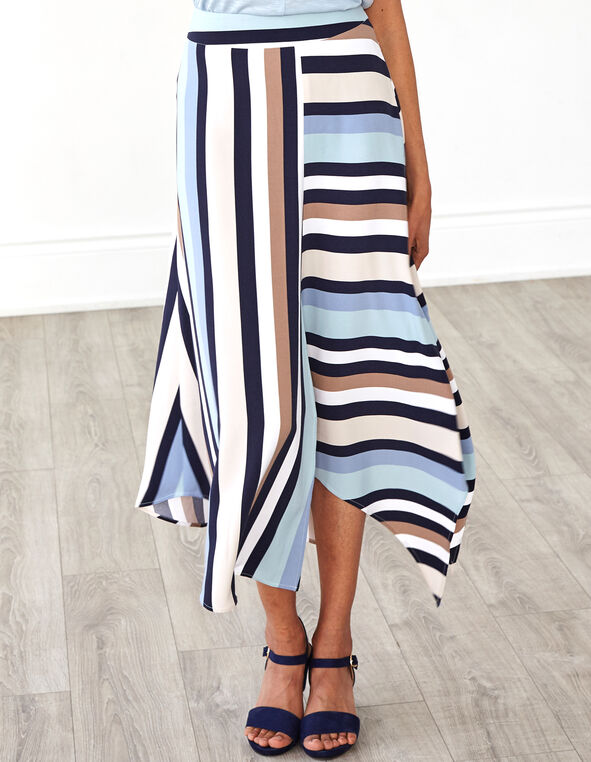Blue Striped Skirt, Blue/Neutral, hi-res